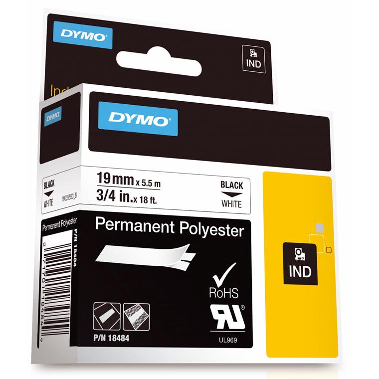 DYMO RHINO 18484 - Labeltape  19 mm sort på hvid polyester