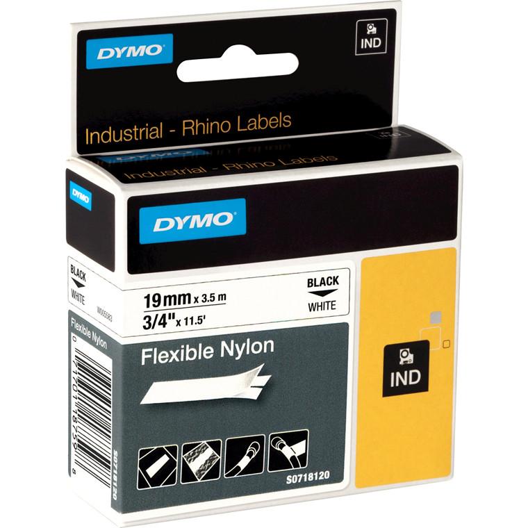 DYMO S0718120 - Rhino Labeltape fleksibel nylon 19 mm sort på hvid