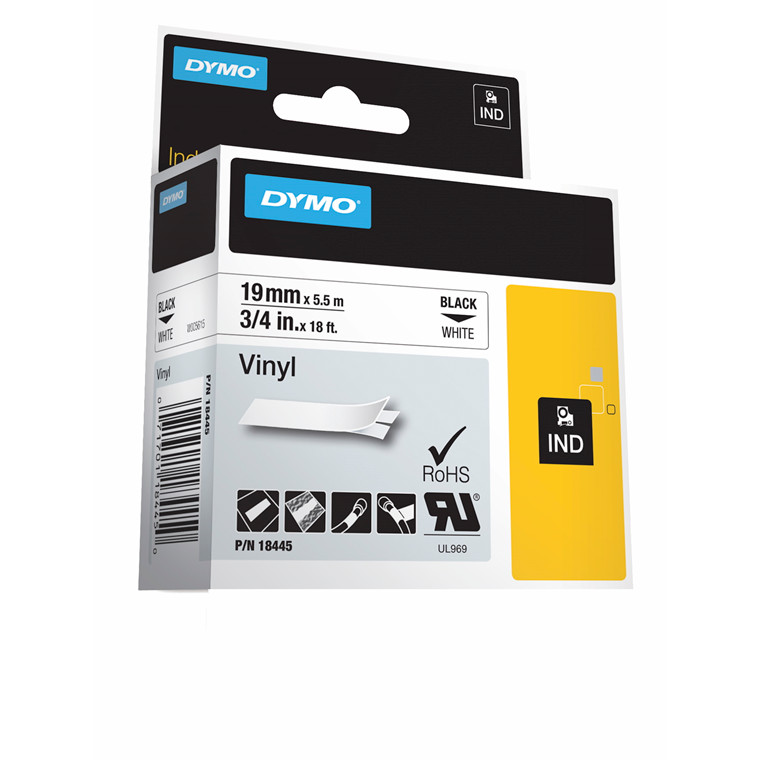 DYMO S0718620 - Rhino labeltape 19 mm x 5,5 m sort på hvid vinyl tape