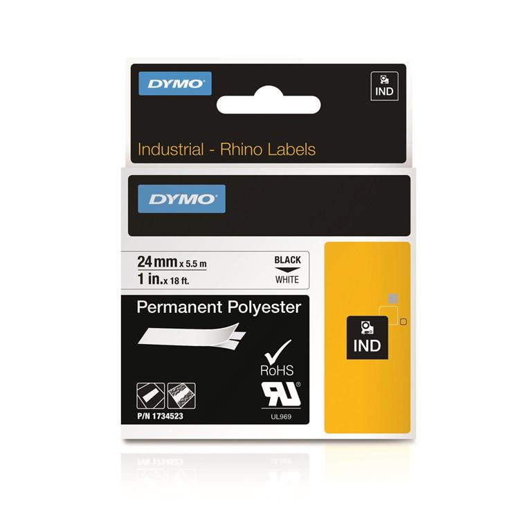 DYMO S0773830 - Rhino Labeltape 24 mm sort på hvid polyester