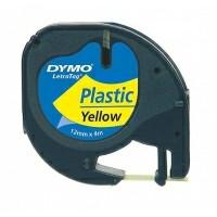 Dymo LetraTag tape plastic 12mmx4m yellow