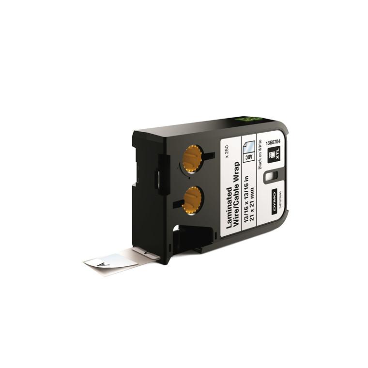 DYMO XTL 1868704 - Labeltape 21 x 21 mm sort på hvid lamineret etiket