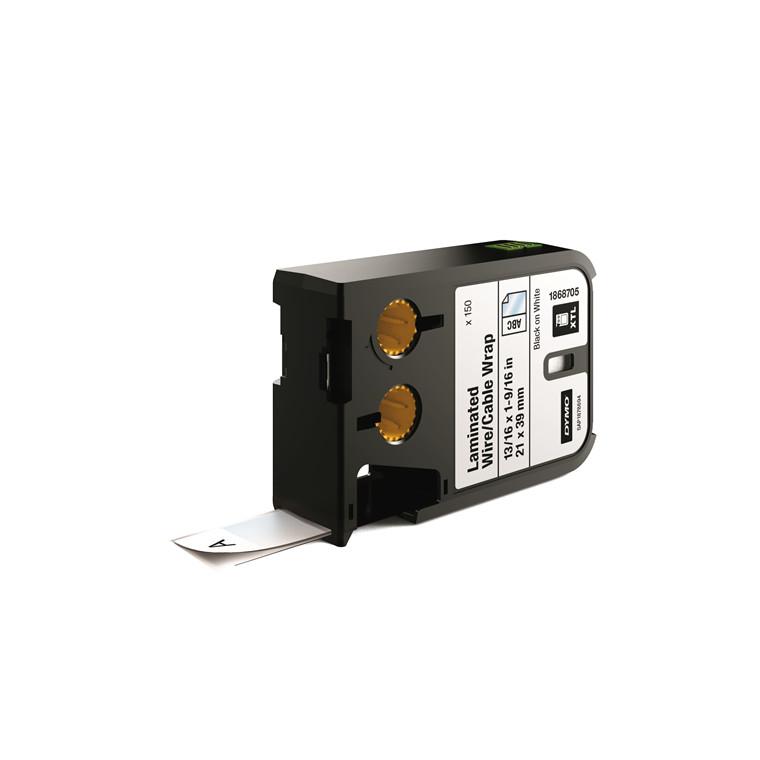 DYMO XTL 1868705 - Labeltape 21 x 39 mm sort på hvid lamineret