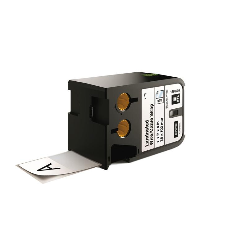 DYMO XTL 1868709 - Labeltape 38 x 102 mm sort på hvid