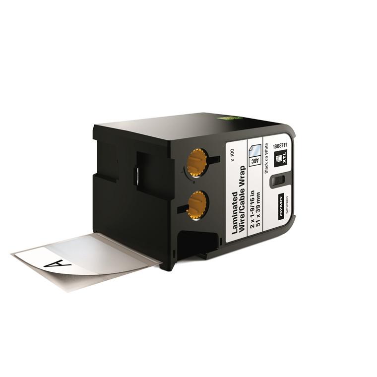 DYMO XTL 1868711 - Labeltape 51 x 39 mm sort på hvid
