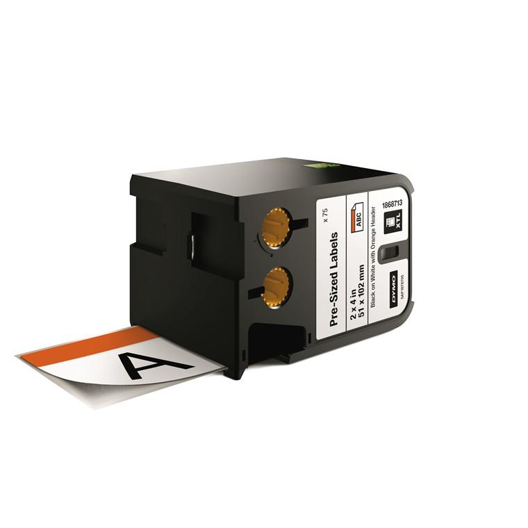 DYMO XTL 1868713 - Label tape 51 x 102 mm sort på hvid med orange top