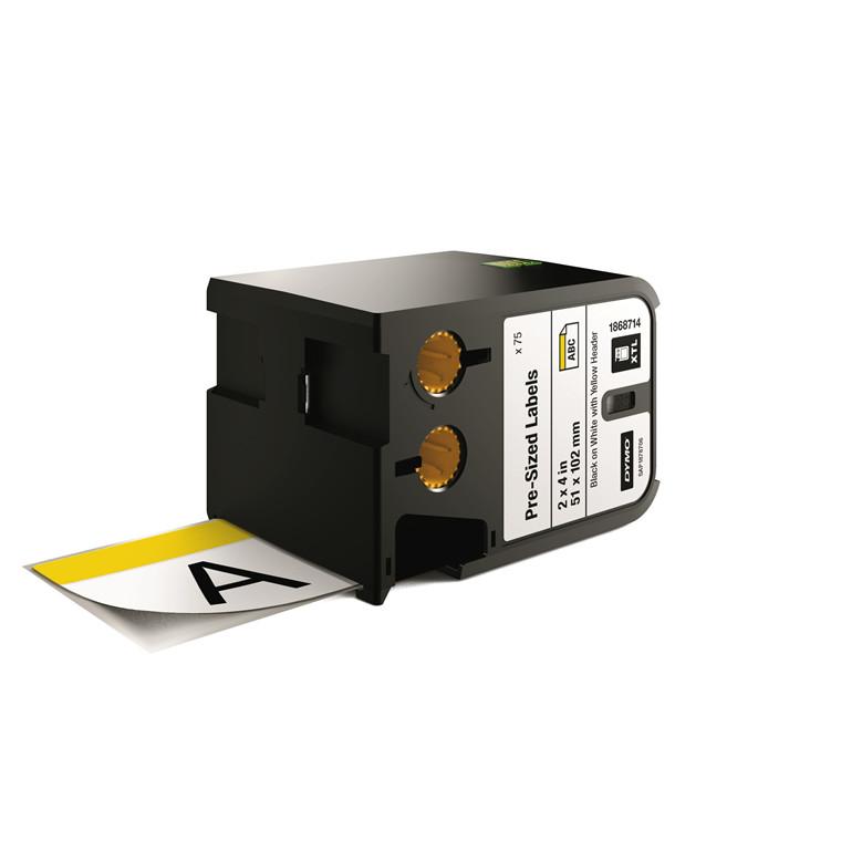 DYMO XTL 1868714 - Labeltape 51 x 102 mm sort på hvid med gul top