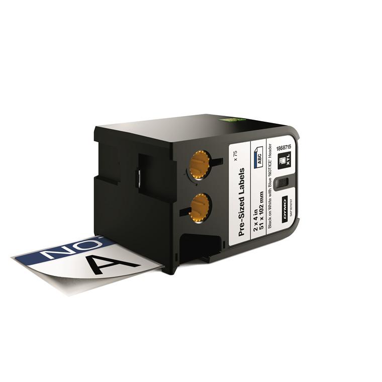 DYMO XTL 1868715 - Labeltape 51 x 102 mm sort på hvid med blå top notice