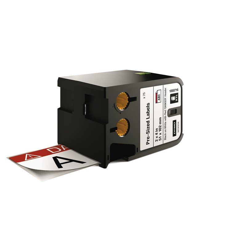 "DYMO XTL 1868716 - Etiket tape 51 x 102 mm sort på hvid med rød top ""Danger"""