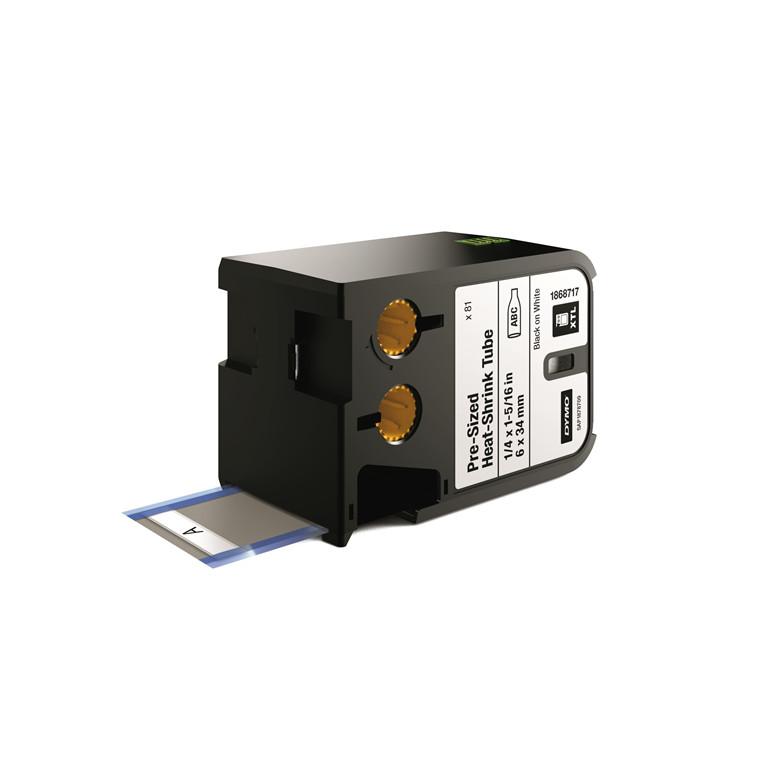 DYMO XTL 1868717 - Labeltape 6 x 34 mm sort på hvid krympeflex
