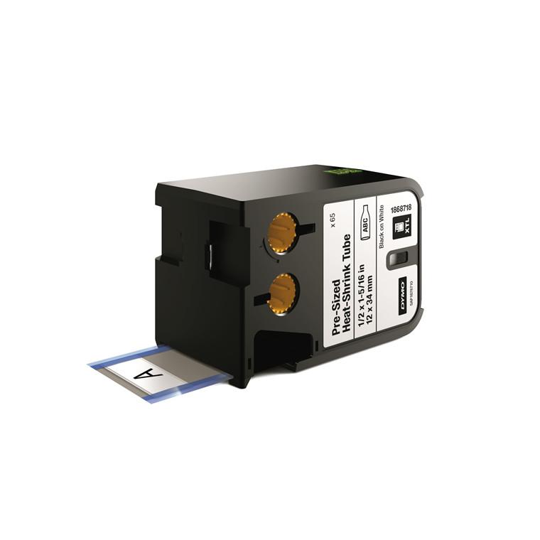 DYMO XTL 1868718 - Labeltape 12 x 34 mm sort på hvid krympeflex