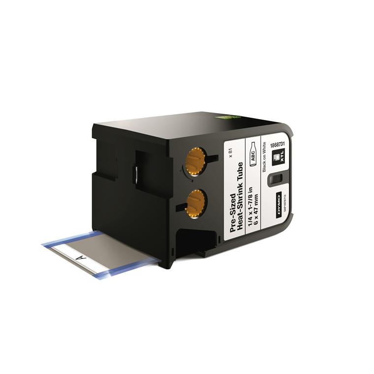 DYMO XTL 1868731 - Labeltape  6 x 47 mm sort på hvid krympeflex