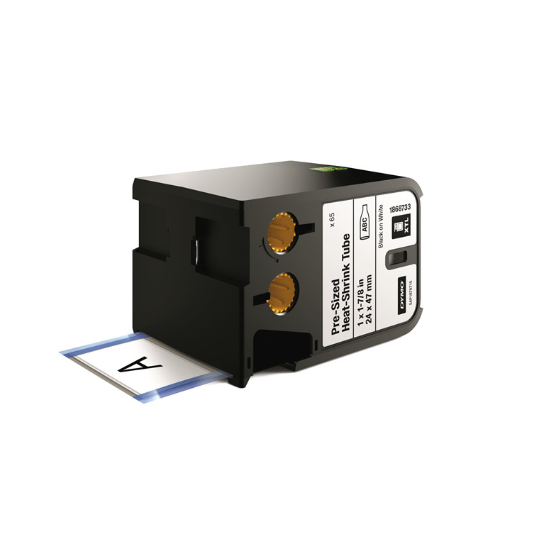 DYMO XTL 1868733 - Labeltape 24 x 47 mm sort på hvid krympeflex