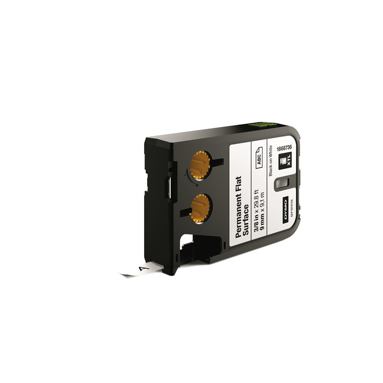DYMO XTL 1868736 - Labeltape 9mm x 9,1 m sort på hvid permanent plan