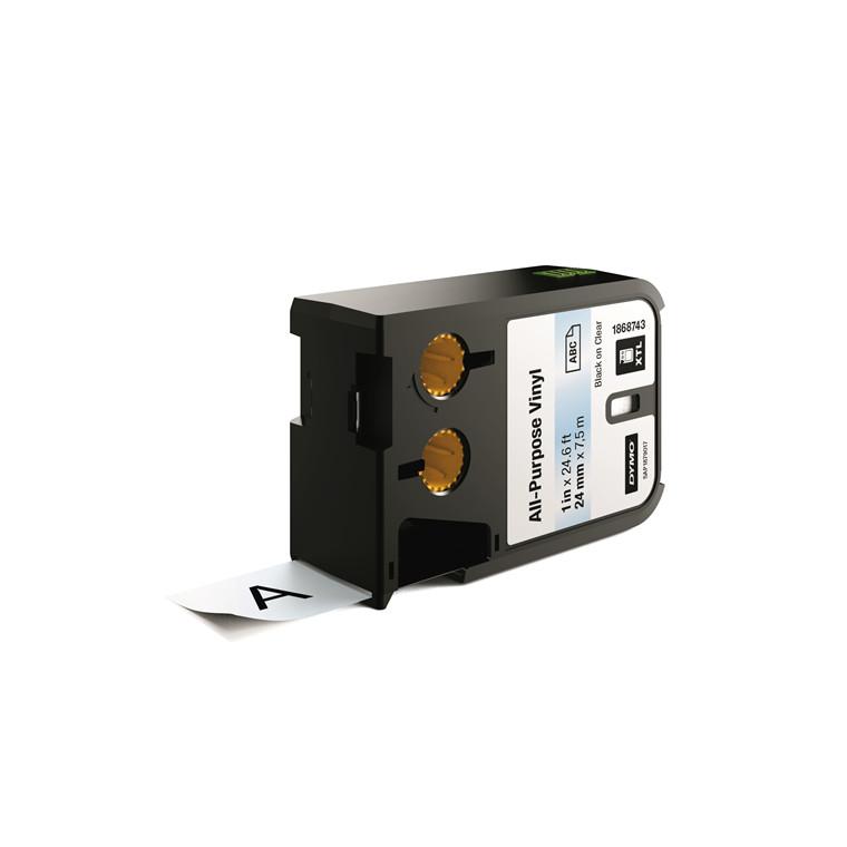 DYMO XTL 1868743 - Labeltape 24 mm x 7,5 m sort på klar vinyl universal
