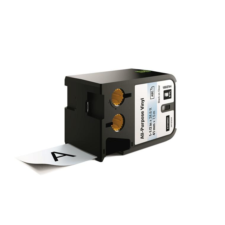 DYMO XTL 1868744 - Labeltape 41 mm x 7,5 m sort på klar vinyl universal