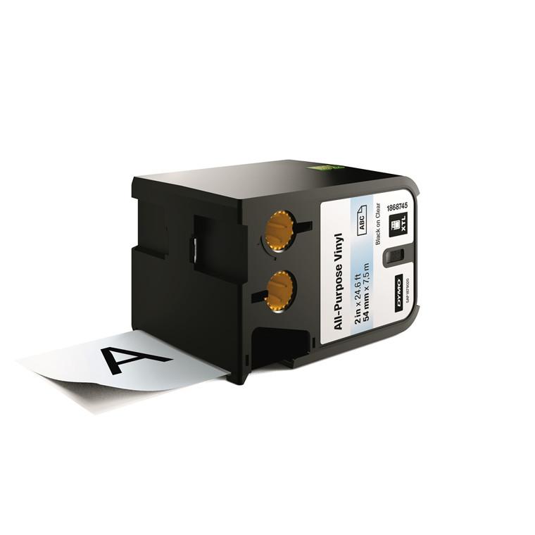 DYMO XTL 1868745 - Labeltape 54 mm x 7,5 m sort på klar vinyl universal