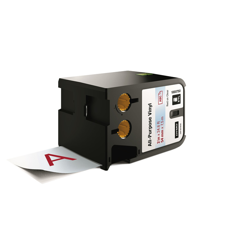 DYMO XTL 1868750  - Label tape 54 mm x 7,5 m rød på klar vinyl universal