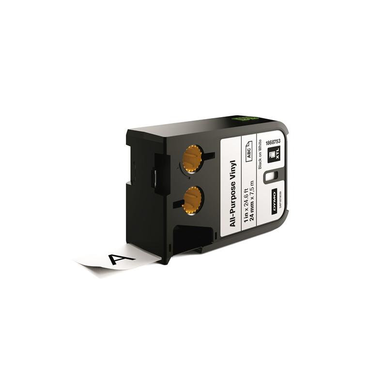DYMO XTL 1868753 - Labeltape 24 mm x 7,5 m sort på hvid vinyl universal