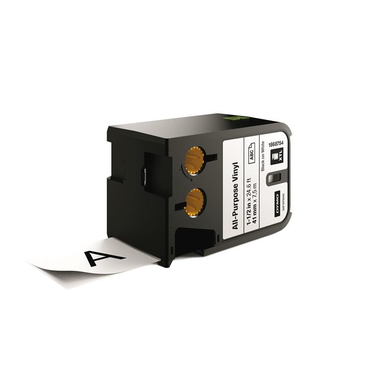 DYMO XTL 1868754 - Labeltape 41 mm x 7,5 m sort på hvid vinyl universal
