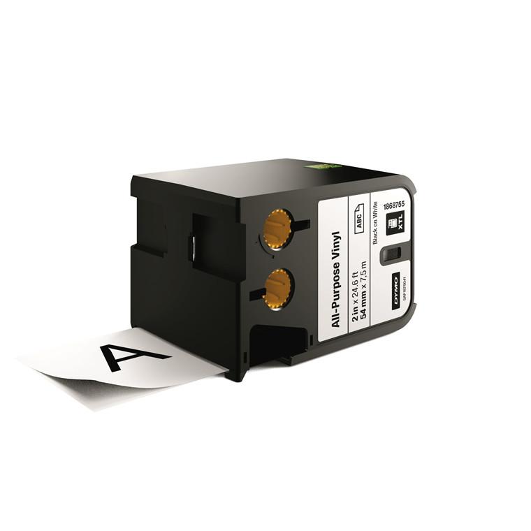 DYMO XTL 1868755 - Labeltape 54 mm x 7,5 m sort på hvid vinyl universal