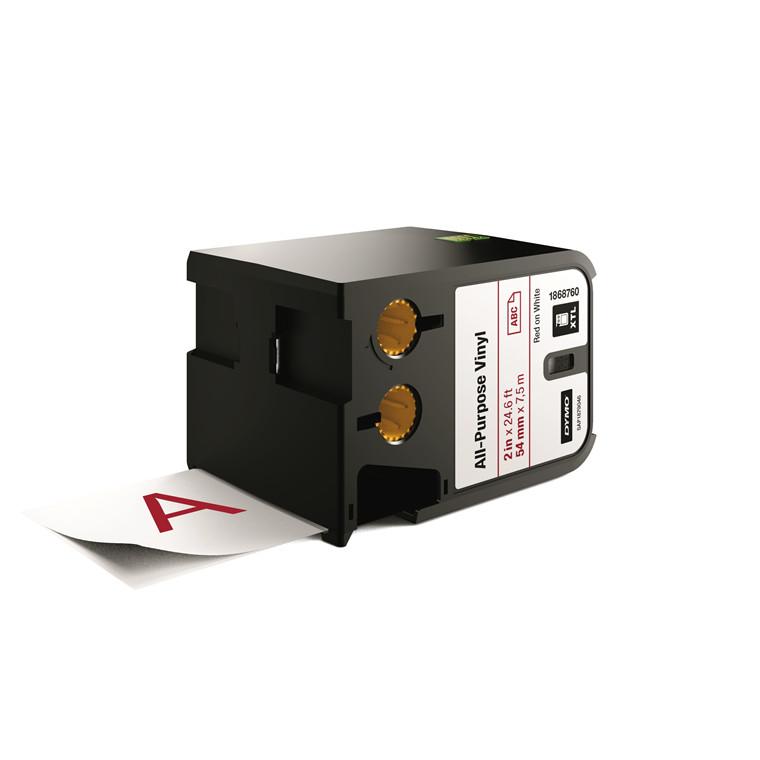 DYMO XTL 1868760 - Labeltape 54 mm x 7,5 m rød på hvid vinyl universal