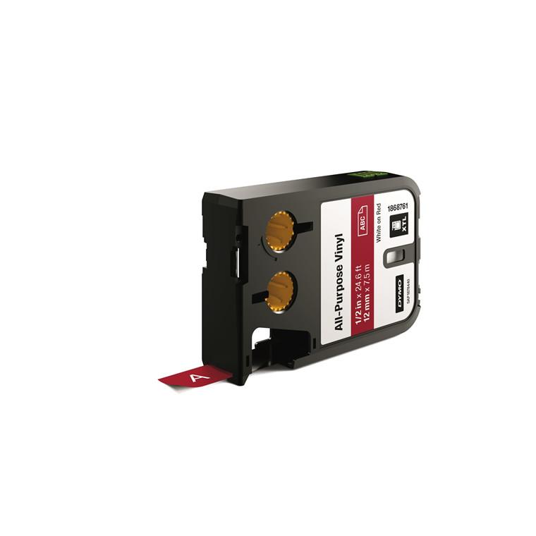 DYMO XTL 1868761 - Labeltape 12 mm x 7,5 m hvid på rød vinyl universal