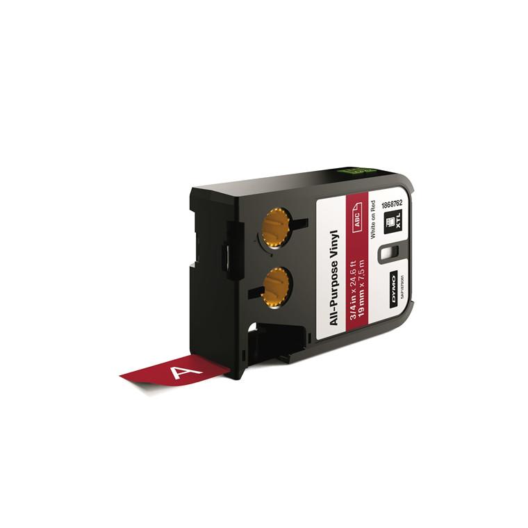 DYMO XTL 1868762 - Labeltape 19 mm x 7,5 m hvid på rød vinyl universal