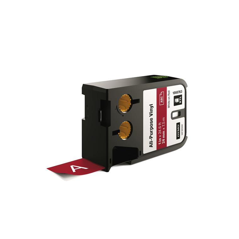 DYMO XTL 1868763 - Label tape 24 mm x 7,5 m hvid på rød vinyl universal