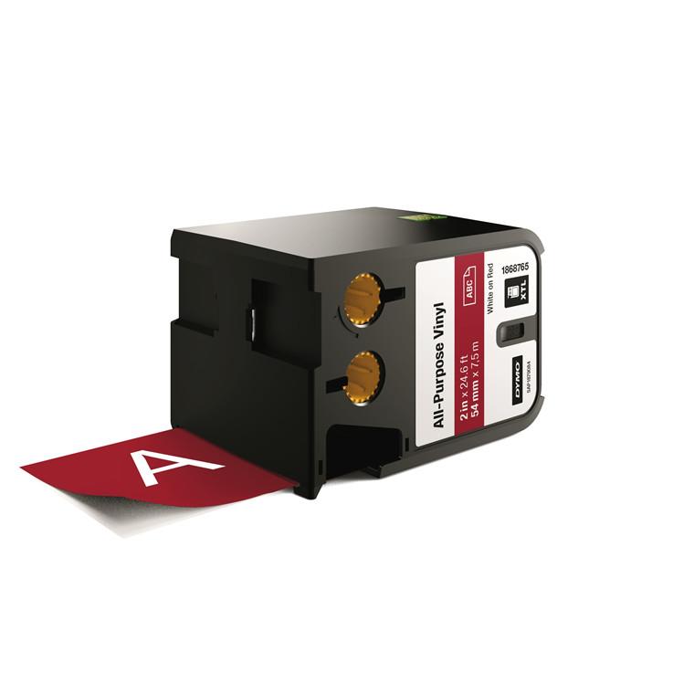 DYMO XTL 1868765 - Labeltape 54 mm x 7,5 m hvid på rød vinyl universal