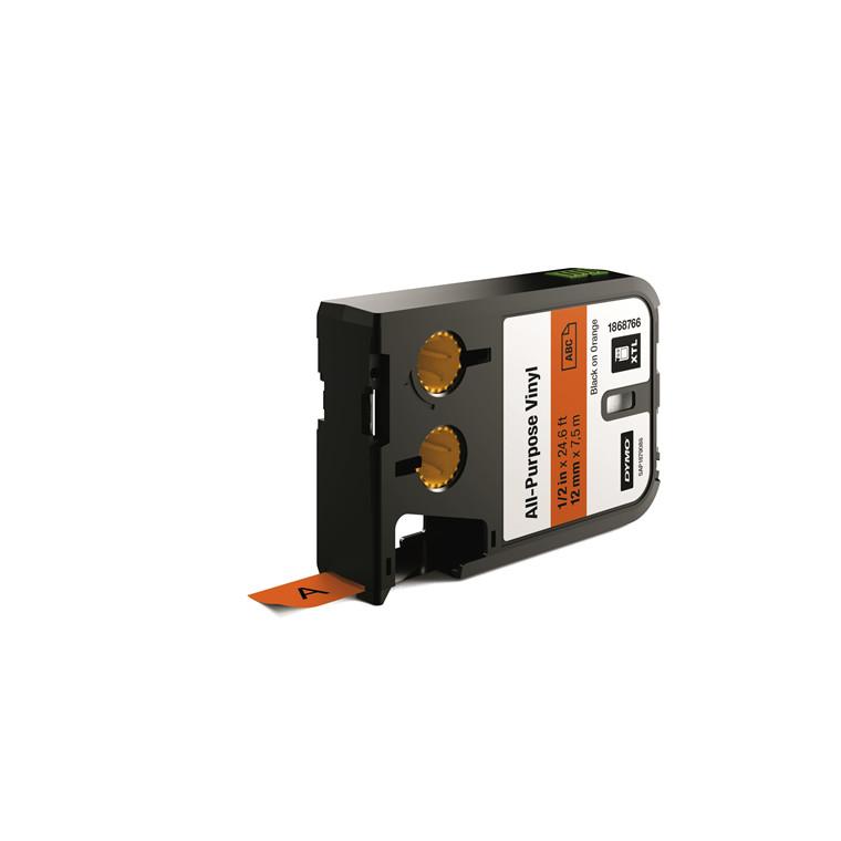 DYMO XTL 1868766 - Labeltape 12 mm x 7,5 m sort på orange vinyl universal