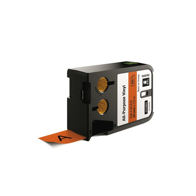 DYMO XTL 1868768 - Labeltape 24 mm x 7,5 m sort på orange vinyl universal
