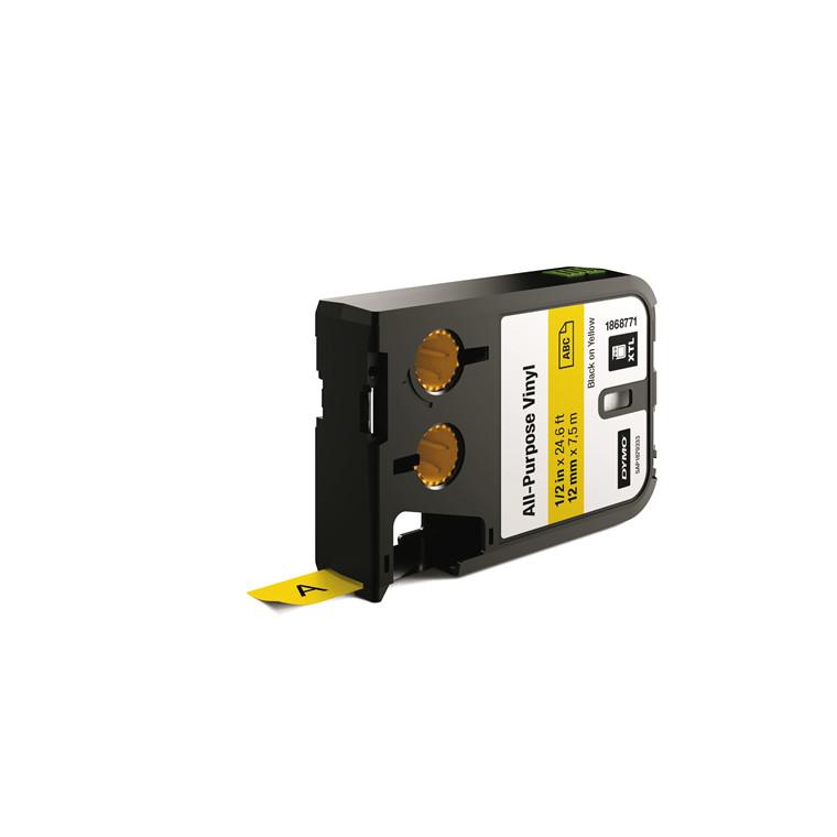 DYMO XTL 1868771 - Labeltape 12 mm x 7,5 m sort på gul vinyl universal