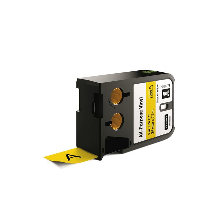 DYMO XTL 1868773 - Labeltape 24 mm x 7,5 m sort på gul vinyl universal