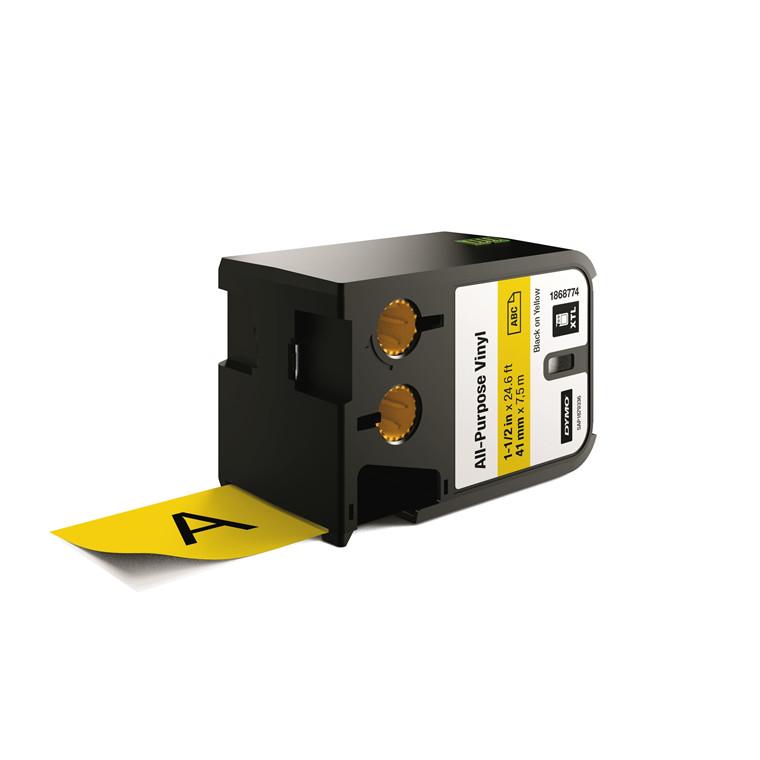 DYMO XTL 1868774 - Labeltape 41 mm x 7,5 m sort på gul vinyl universal