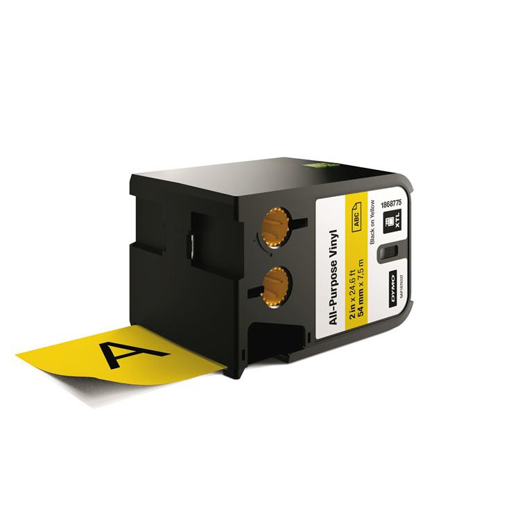 DYMO XTL 1868775 - Labeltape 54 mm x 7,5 m sort på gul vinyl universal