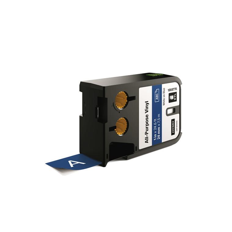 DYMO XTL 1868778 - Labeltape 24 mm x 7,5 m hvid på blå vinyl universal