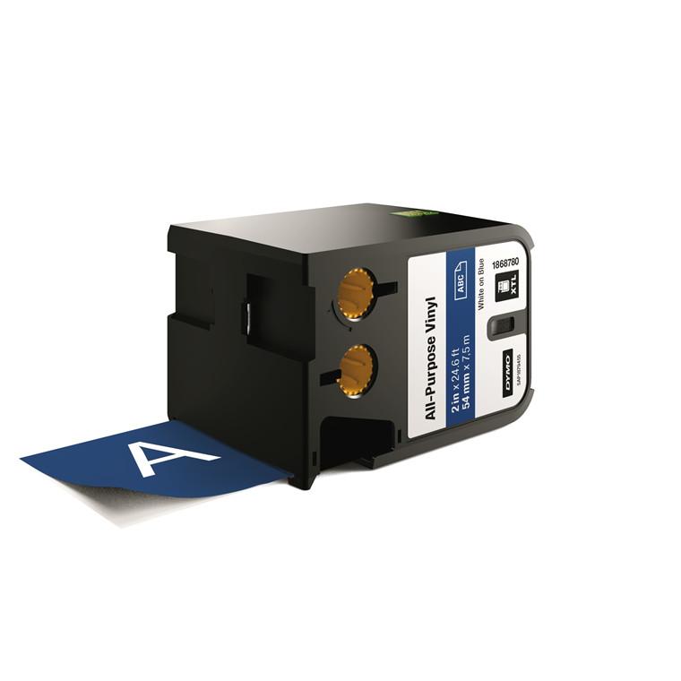 DYMO XTL 1868780 - Labeltape 54 mm x 7,5 m hvid på blå vinyl universal