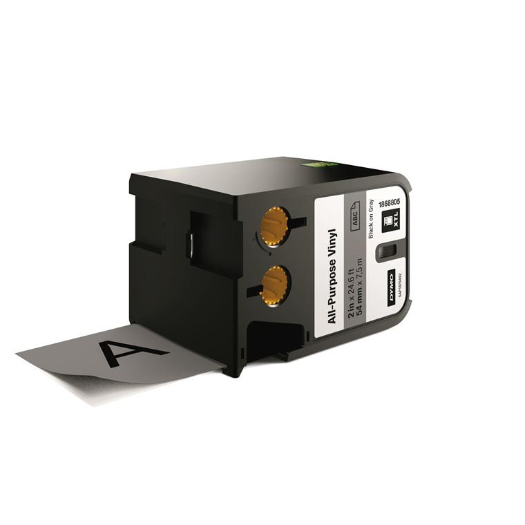 DYMO XTL 1868805 - Labeltape 54 mm x 7,5 m sort på grå vinyl universal