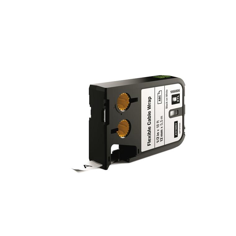 DYMO XTL 1868806  - Labeltape 12 mm x 7,5 m sort på hvid kabelomvikling