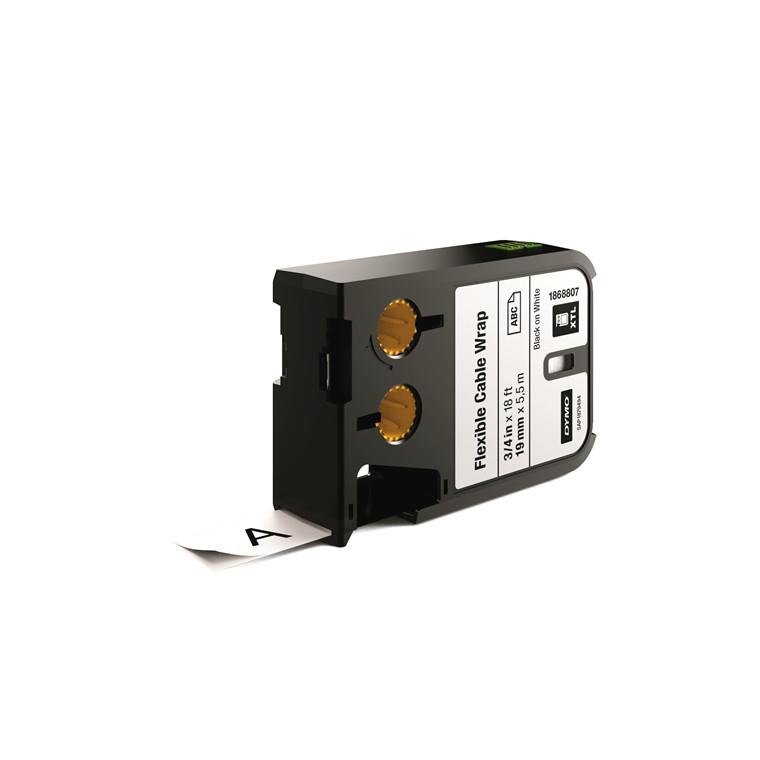 DYMO XTL 1868807 - Labeltape 19 mm x 7,5 m sort på hvid kabelomvikling