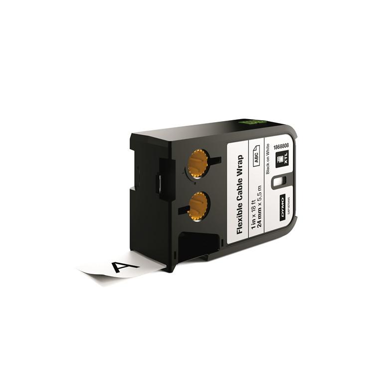 DYMO XTL 1868808 - Labeltape 24 mm x 7,5 m sort på hvid kabelomvikling