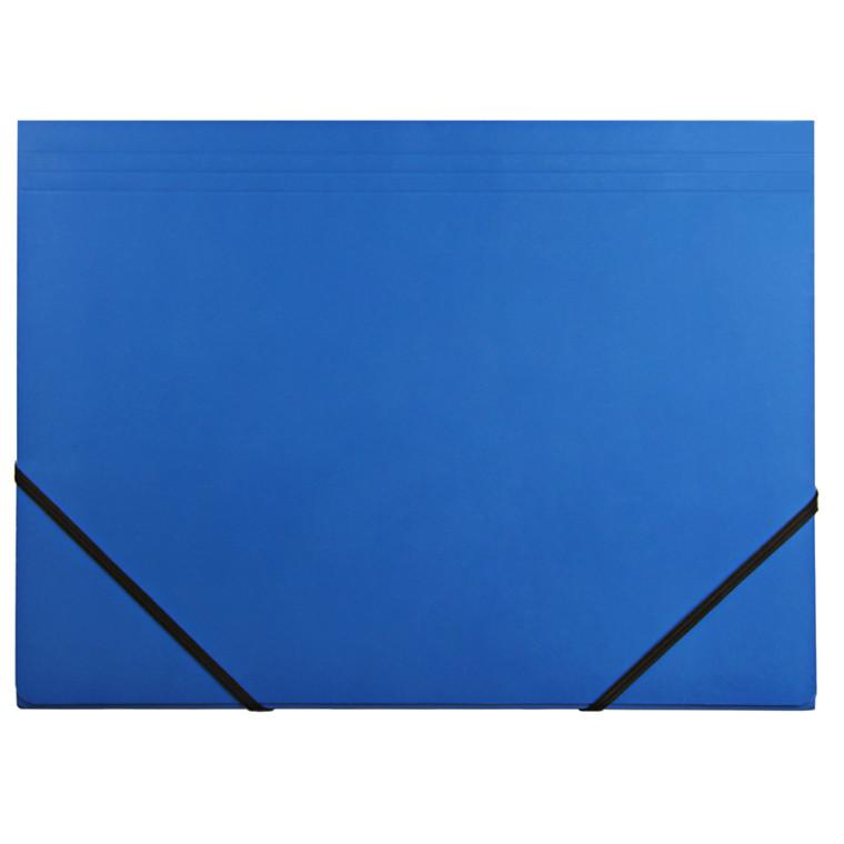 Elastikmapper - Q-Line A4 blå kraftig karton med 3 klapper