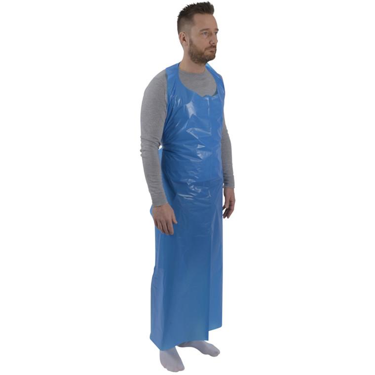 UDSOLGT Engangsforklæde, LDPE, 35 my, blå, uden tryk, på blok, 85x150 cm
