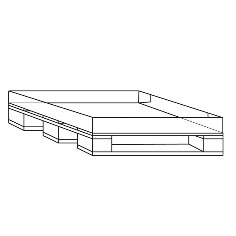 Engangspalle 120 x 80 x 1,5 cm - med påhæftet bølgepap bund 14