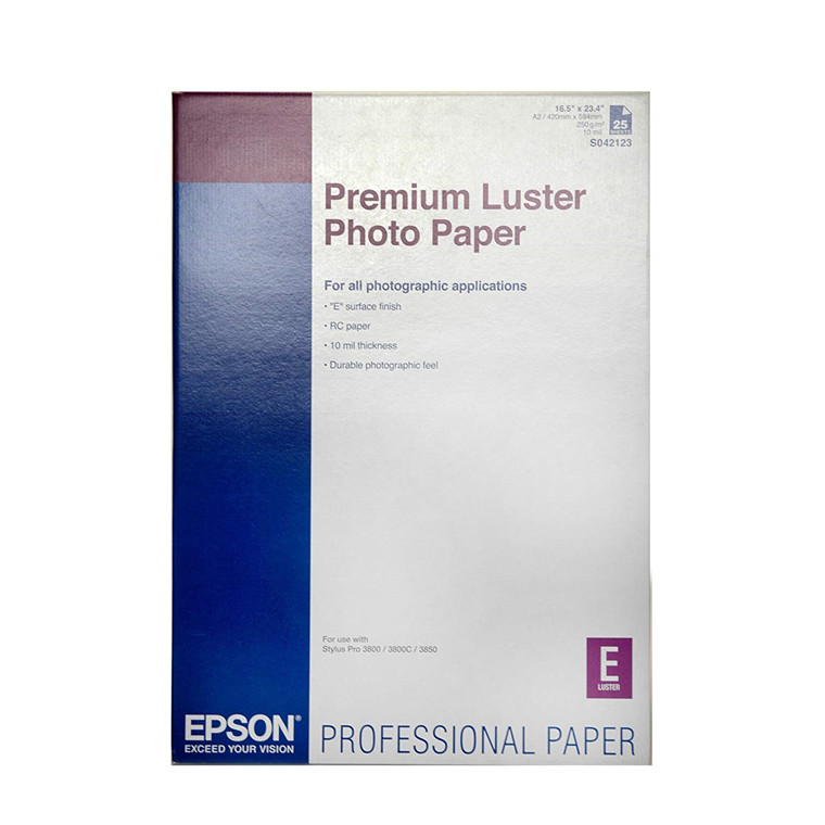 Epson Premium Luster fotopapir 250 gram A2 42 x 59,4 cm | 25 ark