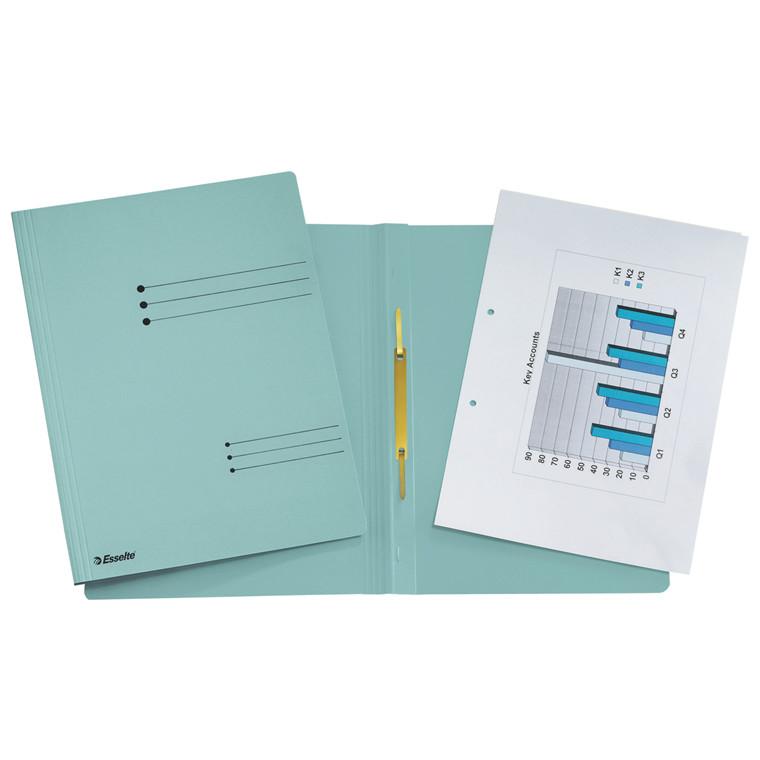 Karton arbejdsmappe A4 Esselte med split og overligger 621057 - Blå