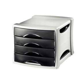 Esselte Intego skuffekabinet med 4 skuffer - grå kabinet med sorte skuffer