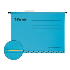 Hængemappe med split og overligger Esselte Classic A4 blå - 10 stk i pakke