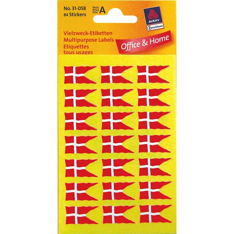 Avery 31-058 - Danske flag klistermærker 22 x 12 mm - 84 etiketter